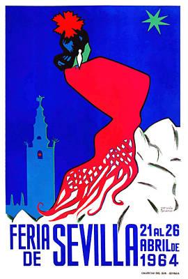 Flamenco Digital Art - Spain 1964 Seville April Fair Poster by Retro Graphics