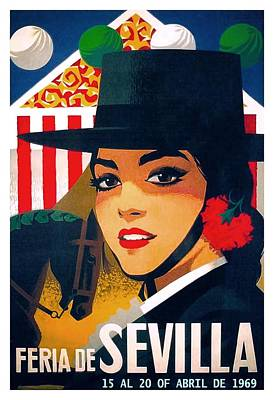 Semana Santa Wall Art - Digital Art - Spain 1969 Seville April Fair Poster by Retro Graphics