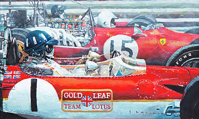 Lotus Wall Art - Painting - Spain Gp 1969  Lotus 49 Hill  Ferrari 312 Amon  Lotus 49b Rindt  by Yuriy Shevchuk