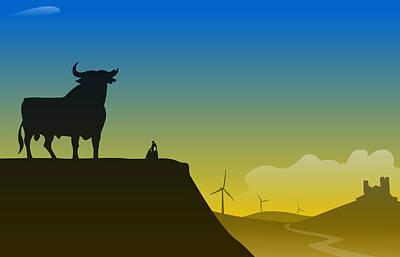 Bull Fighter Digital Art - Spain by Nestor PS