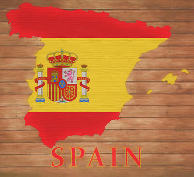 Mixed Media - Spain Rustic Map On Wood by Dan Sproul