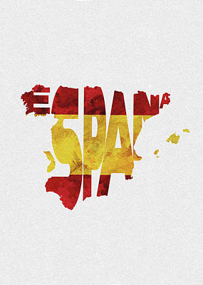 Spain Typographic Map Flag Art Print