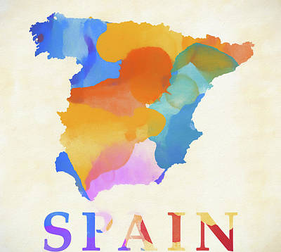 Painting - Spain Watercolor Map by Dan Sproul