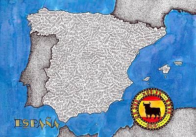 Spain Word Map Original by Terri Kelleher