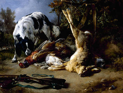 Painting - Spaniel With A Still Life Of Dead Game by Jacques Raymond Brascassat