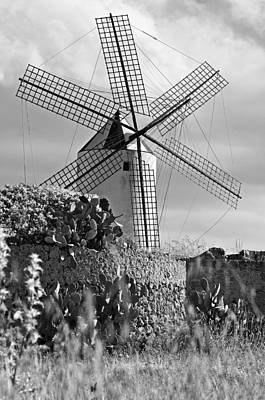 Photograph - Spanish Wind Mill Black And Whit by Pedro Cardona Llambias