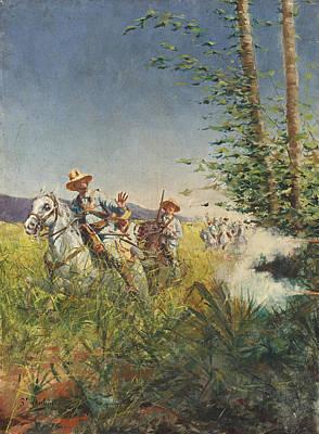 Alejandro Painting - Spanish Ambushed By Cuban Patriots by Alejandro Saint-Aubin