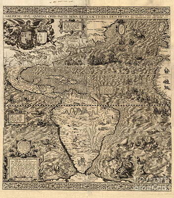 Library Of Congress Photograph - Spanish America, 16th Century Map by Science Source