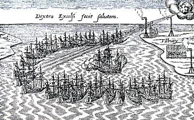 The Duke Drawing - Spanish Armada by English School
