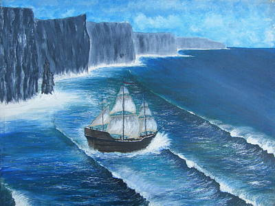 Spanish Galleons Painting - Spanish Armada Galleon Off The Cliffs Of Moher by Chris Murray