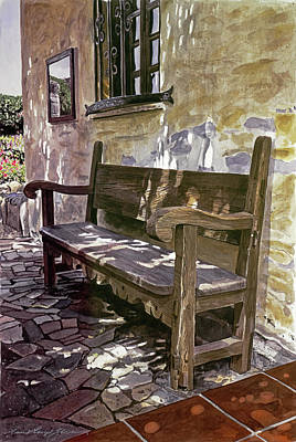 Landmarks Painting Royalty Free Images - Spanish Bench, Mission Carmel Royalty-Free Image by David Lloyd Glover