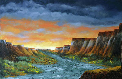 Painting - Spanish Broom Canyons Sunset 1of5 by Carl Owen