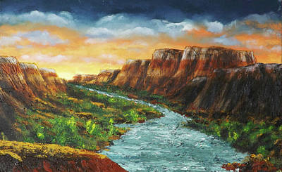 Painting - Spanish Broom Canyons Sunset 3of5 by Carl Owen