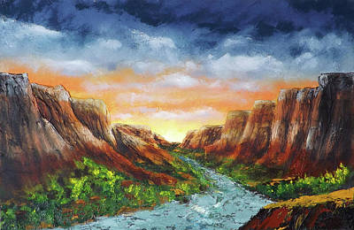 Painting - Spanish Broom Canyons Sunset 4of5 by Carl Owen
