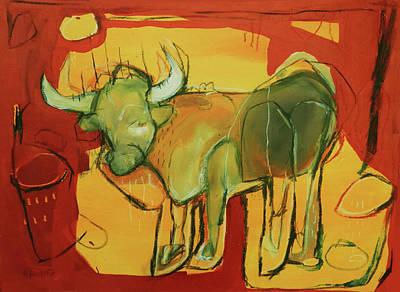 Stamen Drawing - Spanish Bull X by Milos Hronec