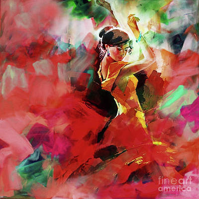 Art Print featuring the painting Spanish Dance by Gull G