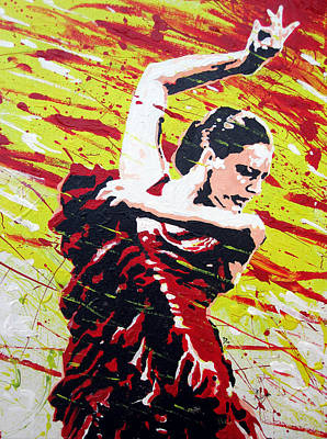 Stencil Art Painting - Spanish Dancer by Tom Deacon