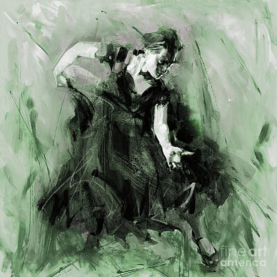 Art Print featuring the painting Spanish Flamenco Dancer by Gull G