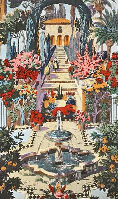 Idyllic Drawing - Spanish Garden by Harry Wearne