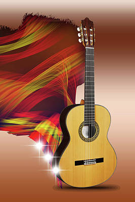 Digital Art - Spanish Guitar by Angel Jesus De la Fuente