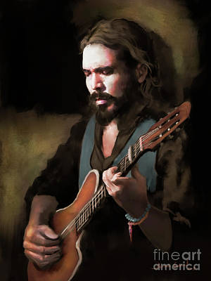 Art Print featuring the digital art Spanish Guitar - El Javi by Dwayne Glapion