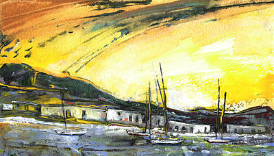 Impressionism Drawings - Spanish Harbour 06 by Miki De Goodaboom