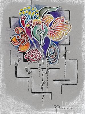 Abstract Flowers Drawings - Spanish Harlem by Ronda Breen