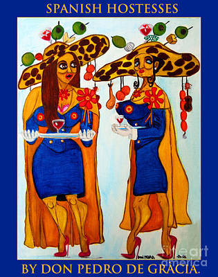 Art Print featuring the painting Spanish Hostesses. by Don Pedro De Gracia