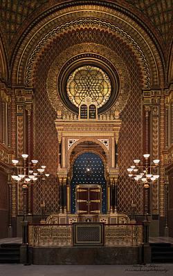 Spanish Synagogue Photograph - Spanish Jewish Synagogue, Prague, Czech Republic, Golden Commandments by Wendy Seagren