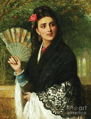 Spanish Lady With Fan Art Print by Pg Reproductions
