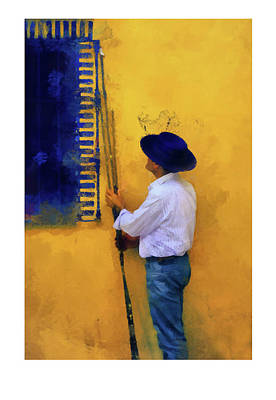 Photograph - Spanish Man At The Yellow Wall. Ltd Edition Of Only 25 Fine Art Giclee Prints by Jenny Rainbow