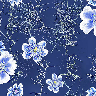 Digital Art - Indigo Batik Tile 4 - Spanish Moss by Karen Dyson
