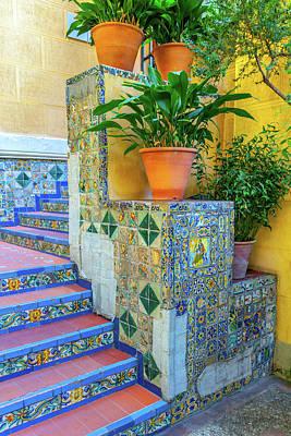 Flowerpot Photograph - Spanish Stairs by W Chris Fooshee