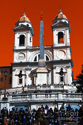 Photograph - Spanish Steps Pop Art by John Rizzuto