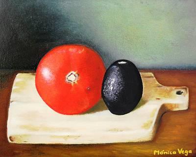 Cutting Board Painting - Spanish Still Life by Monica  Vega
