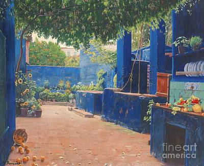 Spanish Town Painting - Spanish The Blue Courtyard by MotionAge Designs