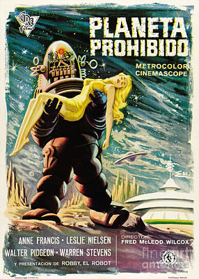 Painting - Spanish Version Of Forbidden Planet In Cinemascope Retro Classic Movie Poster by R Muirhead Art
