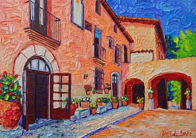 Painting - Spanish Villa In Sitges Modern Impressionist Impasto Palette Knife Oil Painting Ana Maria Edulescu   by Ana Maria Edulescu
