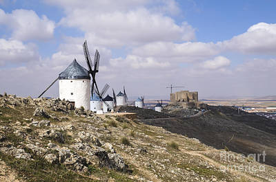 Don Quixote Digital Art - Spanish Windmills And Castle Of Consuegra by Perry Van Munster