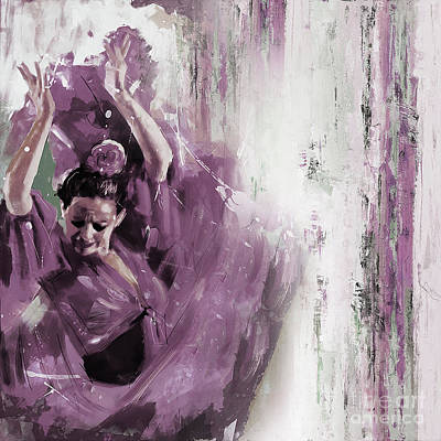 Painting - Spanish Woman Dance  by Gull G