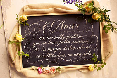Spanish Words About Love Written Art Print by Gillham Studios