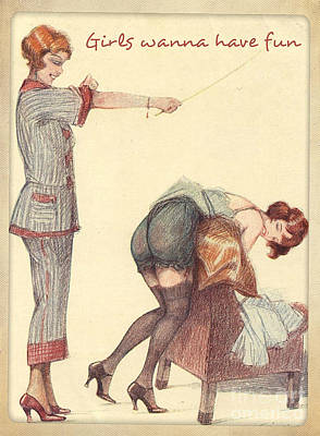 Drawing - Spanking Fun by Anonymous