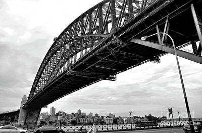 Photograph - Spanning Sydney Harbour - Black And White by Kaye Menner