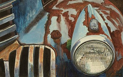 Rusted Cars Painting - Spare Your Heart by Laurie Stewart