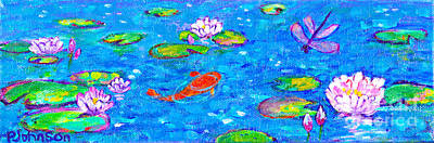 Painting - Sparkling Koi Pond With Waterlilies By Peggy Johnson by Peggy Johnson