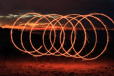Photograph - Sparkler Spirals by Travis Rogers