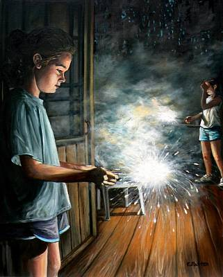 Painting - Sparklers On The Porch by Eileen Patten Oliver
