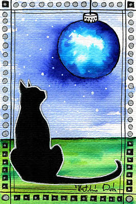 Painting - Sparkling Blue Bauble - Christmas Cat by Dora Hathazi Mendes