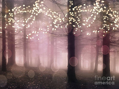 Surreal Nature Photograph - Sparkling Fantasy Fairytale Trees Nature Pink Woodlands - Sparkling Lights Bokeh Fantasy Trees by Kathy Fornal