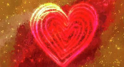 Abstract Hearts Digital Art - Sparkling Heart by Art Spectrum